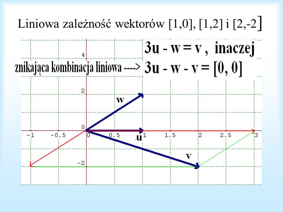 Liniowa zależność wektorów [1,0], [1,2] i [2,-2]